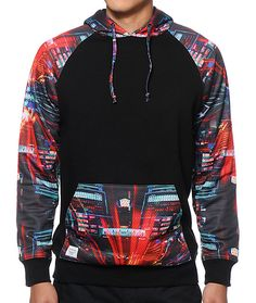 A black body is accented by multicolor graphic print raglan sleeves plus a graphic print mesh hood and kangaroo pouch pocket.