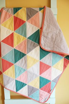coral pink GEOMETRIC triangle quilt by PETUNIAS blanket crib nursery decor baby shower gift newborn photo prop hipster modern chevron gray