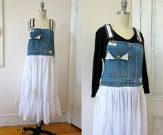 Upcycled Overall Dress - Recycled Denim - White Skirt - Lace Applique - Hand Made Dress - Recycled Overalls - Hippie Dress by StateAndMainVintage on Etsy https://www.etsy.com/listing/520592201/upcycled-overall-dress-recycled-denim