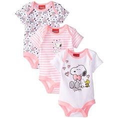 Peanuts Baby-Girls Newborn Snoopy Girls 3 Pack Bodysuits Multi 6 Months in One-Pieces Baby Kind, Cute Baby Girl, Baby Girl Newborn, Baby Love, Cute Babies, Baby Girls, Disney Baby Clothes, Baby Kids Clothes, Baby Disney