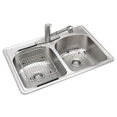 Glacier Bay All-in-One Top Mount Stainless Steel 33 in. 3-Hole Double Bowl Kitchen Sink-VT3322H0 - The Home Depot