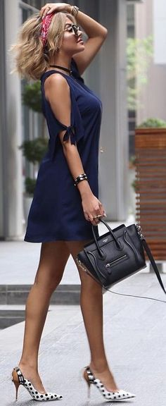 #summer #chic #feminine #style | Navy + Black and White + Dots