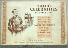 Vintage - Radio Celebrities 2nd Series Full Set of 50 Cigarette Cards in Original Album by Wills Issued in 1935