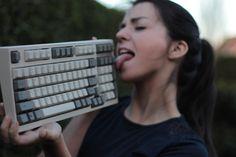 PsBattle: Woman licking a keyboard
