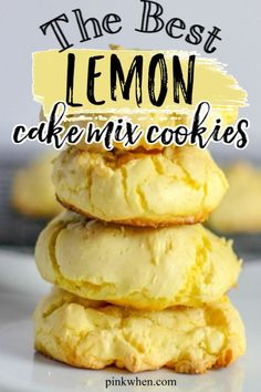 These easy lemon cake mix cookies are made with just 3 ingredients. Lemon cake mix cookies are some of our favorite easy desserts that are made in just under 10 minutes. Lemon Cake Mix Cookie Recipe, Lemon Cookies Easy, Lemon Cake Mix Cookies, Cake Mix Muffins, Vegan Lemon Cake, Cake Mix Desserts, Blueberry Cookies, Lemon Dessert Recipes, Lemon Cake Mixes