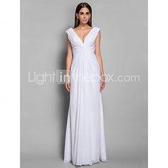 [USD $ 119.99] V-neck Chiffon Sheath/Column Floor-length Evening Dress inspired by Tia Carrere at Grammy