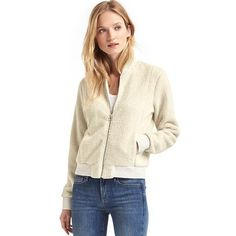 Gap Women Sherpa Bomber Jacket ($70) ❤ liked on Polyvore featuring outerwear, jackets, cream, regular, bomber style jacket, sherpa jacket, white bomber jacket, sherpa fleece jacket and gap jackets