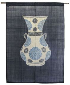 Japanese Noren Curtain Antique Pottery Navy Blue                                                                                                                                                                                 More
