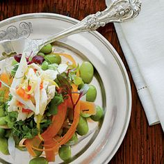 Spring-on-a-Plate Salads—Look for tender, fresh baby greens and microgreens at your local farmers' market; they should be abundant this time of year. Soaking vegetables in ice water crisps them up. | SouthernLiving.com