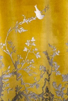 Timorous Beasties Fabric - Birdbranch Velvet Panel, I need these for my room! Timorous Beasties, Grey And Gold, Fabric Wallpaper, Chinoiserie Wallpaper, Mellow Yellow, Gray Yellow, Color Yellow, Soft Furnishings, Textures Patterns