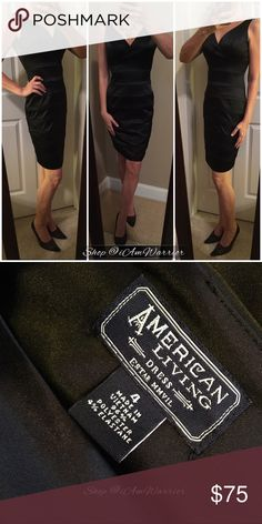 Gorgeous black satin v-neck dress Such a gorgeous figure flattering black satin cocktail dress with v-neck front and back and horizontal banded styling. Dress has a nice thick fabric for a streamline silhouette. Excellent condition. If this is your first time shopping in my closet, please read my 'about me & my closet' listing prior to any inquires. Dresses Midi
