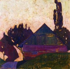 House Between Trees I by Egon Schiele      Size: 67.31x68.58 cm  Medium: oil on panel