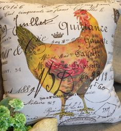 "Pillow cover French Script Canvas and Burlap  Pillow Slip ""Rooster"" by Gathered Comforts"