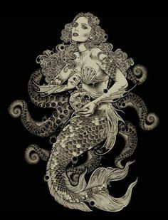 Super Ideas for tattoo mermaid sirens vintage – octopus tattoo Real Mermaids, Mermaids And Mermen, Fantasy Kunst, Fantasy Art, Octopus Mermaid, Mermaid Mermaid, Personajes Studio Ghibli, Tattoos Mandala, Mermaid Artwork
