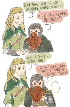 That's the ultimate burn in the LoTR by Gimli! Legolas And Thranduil, Gandalf, Jrr Tolkien, Tolkien Books, Lotr Elves, Bagginshield, Luthien, O Hobbit, Middle Earth