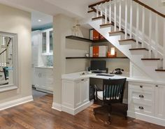 Desk and office area under staircase. #storage #interior decorating #home remodel