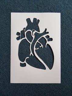 Anatomical Heart stencil, laser cut from mylar Cool Stencils, Face Stencils, Stencil Art, Stencil Designs, Stencil Graffiti, Stencil Printing, Screen Printing, Anatomical Heart Drawing, Heart Stencil