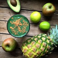 ... made with pineapple, apple, cucumber, lime, avocado and spirulina