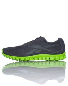 Reebok Men's RealFlex Running Shoe Lime/Charcoal 10.5 Low top men's running sneaker Front lace closure Tongue with logo Thin stretch material Signature logo on sides REEBOK REAL FLEX SNEAKER  Men's Lime Charcoal Running Sneaker Review