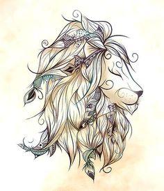 Cute Girly Lion Head Tattoo Design