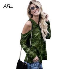 AR Casual Camouflage Tops T-shirts Womens Summer Off Shoulder Long Sleeve  Loose T Shirt 9960392d2
