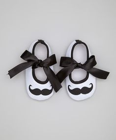 This White & Black Mustache Mary Jane by Tutus by Tutu AND Lulu is perfect! #zulilyfinds