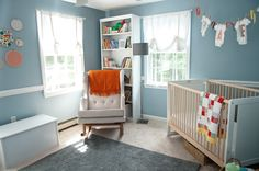Oeuf Robin Crib in a very cute room! Check it out on the floor at Baby Furniture Plus Kids!
