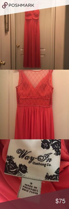 Coral formal gown. Size 3 Coral formal gown High waist - maxi style Sheer back with beading Padded bra inserts - lined Side zipper Worn one time - no rips, tears or stains Please note the pic with the model is not the exact same dress. Just used it for style purposes. Styles are very similar.  Size 3 BUNDLE TO SAVE MORE!!! Dresses Prom