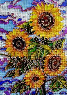Needlepoint canvas 'Sunflower in village' by Irina Vasileva