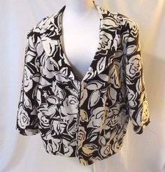 Talbots Women Jacket Blazer 24W Brown Off White Floral Notched Lapel 3/4 Sleeve