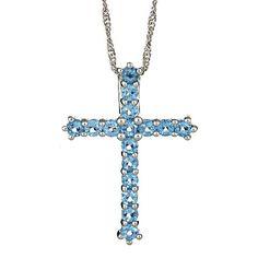 Jewelry Masters : Brilliant Round Blue Topaz Cross Pendant (December Birthstone) [113-ES-BT] - $195.00 (400.00)