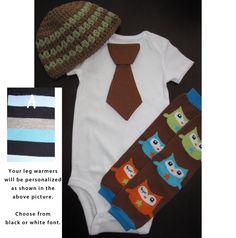 SET - Tie onesie, leg warmers, crochet beanie hat set for baby boys - OWLS. $24.99, via Etsy.