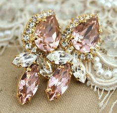 Rhinestone chandelier post earrings Vintage pink Bridal by iloniti