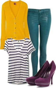 Teal jeans + nautical stripe tee + yellow cardi + purple pumps