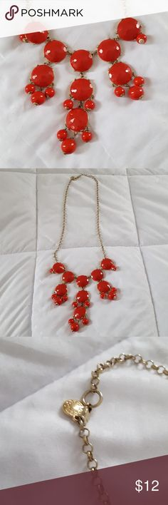 Red J. Crew Bubble Necklace Red bubble necklace from J. Crew with gold chain J. Crew Jewelry Necklaces