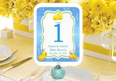 Duck Baby Shower Rubber Duck Table Numbers Cards