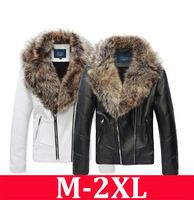 e0f1600b255 Hot sale 2014 Brand men s leather jacket with big fur collar mens thick PU  Leather Suede