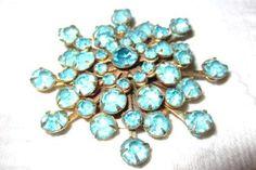 Blue Rhinestone Brooch 1940s Vintage Jewelry