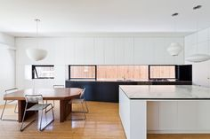 A small sampling of the amazing residential work done by Sydney based architecture firm Tribe Studios . I love how simple and streamlined th. Kitchen Dinning, Wooden Kitchen, Dining Room Design, Kitchen Design, Dining Rooms, Kitchen Ideas, Studio Kitchen, Kitchen Worktop, Wood Countertops
