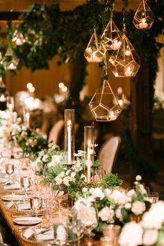 Greenery indoor wedding reception decor / http://www.deerpearlflowers.com/terrarium-geometric-details-ideas/4/