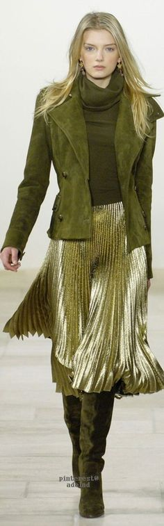 Ralph Lauren Fall 2006. LOVE this.  Suede jacket and boots with soft pleated skirt.  Awesome