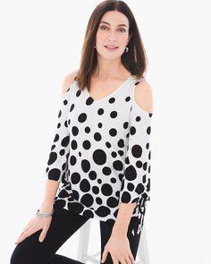 Chico's Women's Dot-Print Cold-Shoulder Top, Black/Optic White, Size: 4 (20/22 XXL)