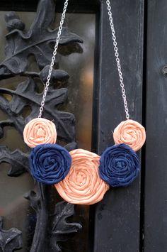 Orange and Blue Rosette Fabric Flower Necklace