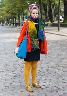 Silja, 23, colourful handknitted scarf