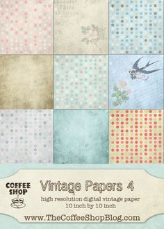 The CoffeeShop Blog: CoffeeShop Vintage 4 Digital Paper Pack!