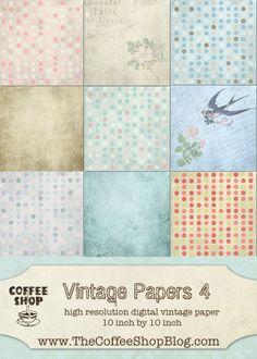 The CoffeeShop Blog: CoffeeShop Vintage 4 Digital Paper Pack!