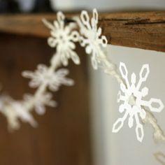 Snowflake Garland - Winter wedding, Winter home decor, Christmas garland, Holiday garland. $18.00, via Etsy.