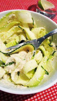 Raw Vegan Alfredo Sauce with Zucchini Noodles It's Alfredo sauce, vegan Noodles and a perfect recipe for an ordinary lunch in the life of vegan people. Never mind anyone can eat this, but I know it's favorite to the ones that love vegan food.