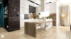MINIMALIZM Z TURKUSEM - Średnia otwarta kuchnia w kształcie litery l, styl nowoczesny - zdjęcie od PEKA STUDIO