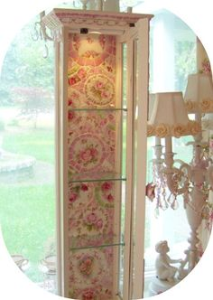 Romancing the rose studio curio, shabby chic, romantic country, lighted cabinet     www.RomancingTheRoseStudio.com ©Website Design by: OneSpringStreet.NET 2011